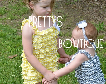 Lace Petti Romper in chevron Yellow or Gray in Baby, Toddler, & Girls Sizes