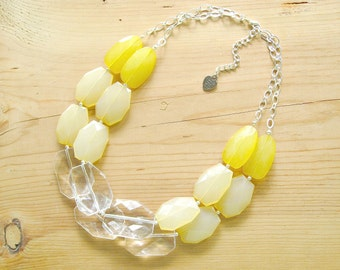 Yellow statement necklace, light yellow chunky necklace, ombre yellow necklace