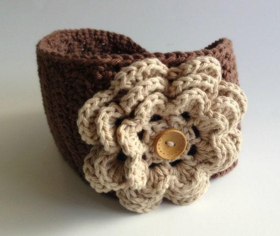 Flower Headwrap Earwarmer Headband Crochet Knit Winter