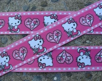 "3y Pink Kitty Hearts Printed Ribbon Grosgrain Ribbon 1"" 3 yards"