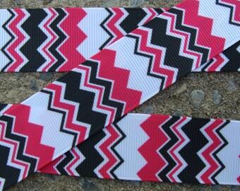 "Chevron Ribbon Pink and Black chevron ribbon 1"" 3yards"