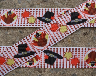 "3y Thanksgiving RibbonTurkey Ribbon Thanksgiving Ribbon Printed Ribbon 1"" Hair Bow Ribbon"