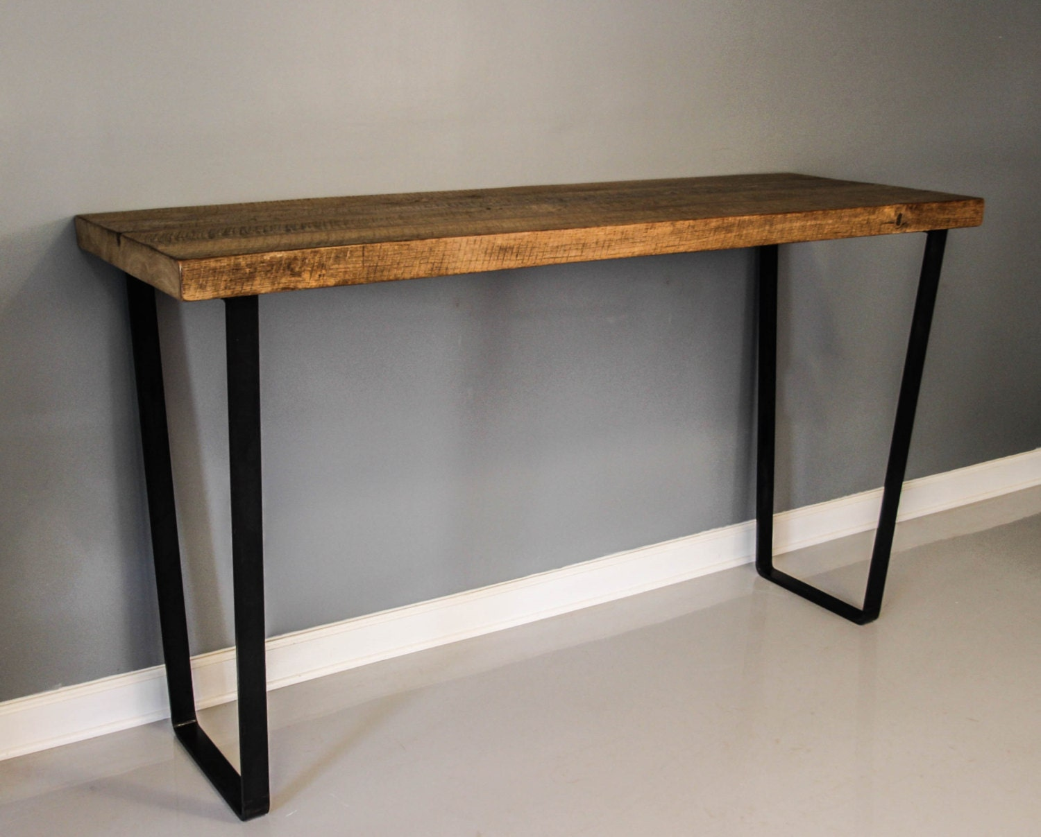 Dining table steel leg table reclaimed planks solid by for Dining table with metal legs