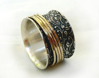 Gorgeous lace spinner ring, rotating ring, four gold spinners, oxidized sterling silver, wedding band, silver spinner ring for women
