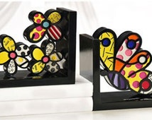 "Romero Britto ""Butterfly and Flower Bookends"" - Polystone Sculpture - Retail 300.00 - COA - See Live at GallArt"