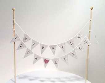 Cake Bunting/Cake Topper/Cake Banner/Flags Happily Ever After. Glitter Heart. Wedding - Engagement - Anniversary.