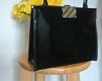 Vtg 1950s Black  Patent Leather Miss Lewis Handbag Satchel Box Purse