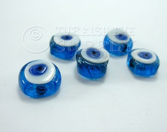 16mm Evil Eye, Handmade Glass Bead, Artisan Handmade Glass Evil Eye Beads, Protective Good Luck Turkish Glass Beads