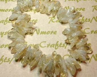 1 strand of Clear Citrine Polished Top-Drilled Crystal Point Gemstone Beads.