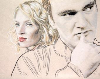 Portrait of Uma Thurman and Quentin Tarantino.