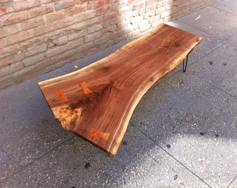 SOLD - Large Black Walnut Live Edge Coffee Table with Butterflies