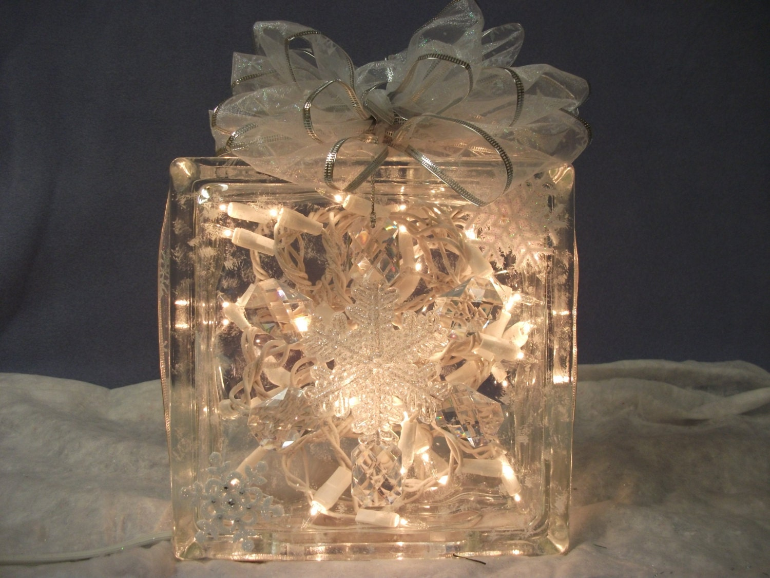 Christmas decorative lighted glass block with clear lights - Glass block decoration ideas ...