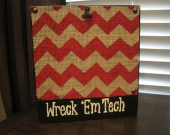 Red Wreck 'Em Tech, Texas Tech Distressed Chevron Picture Frame