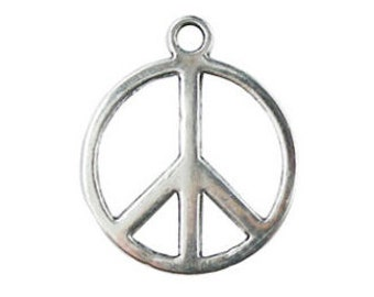 BULK 70 Silver Peace Sign Charm 21x18mm by TIJC SP0087B