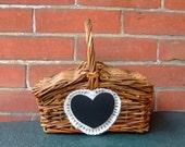 Rustic Wedding Decor / Flower Girl Wedding Basket / Vintage Wicker Basket / Country Wedding Decoration / Chalkboard Heart Decor / Lace Decor