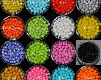 7mm Edible Sugar Pearl Beads, Black Blue White Green Yellow Orange Hot Pink Red Assorted cupcake toppers