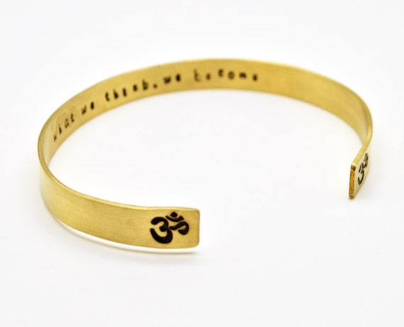 OM Bracelet, Brass Cuff Bracelet, OHM Bracelet, Yoga, Aum, Yoga Jewelry, OM, Custom Bracelet, Hidden Secret Message Bracelet