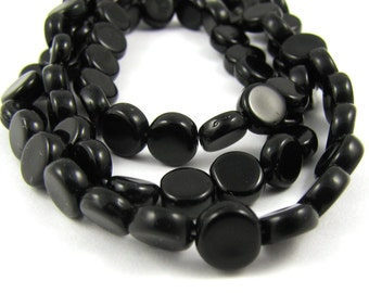 Jet Black Czech Glass 6mm Dime Beads 50pc #1027