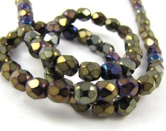 Iris Brown 5mm Facet Round Czech Glass Fire Polished Beads #1230