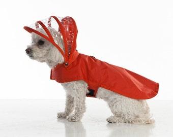 Dog Raincoat - Red - Rainbow Line