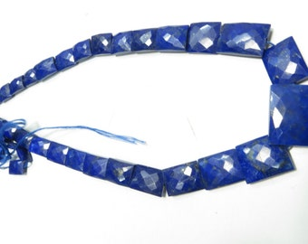 16 Inches Natural Color And Natural Stone Lapees Lazuli  Faceted Supper Top  Quality Chicklet Shape  Size 7X11 mm To 15X20 mm Approx
