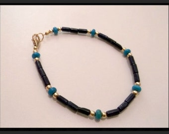 Natural Blue Lapis Lazuli Turquoise and Gold 7.5 inch Bracelet  One of a Kind