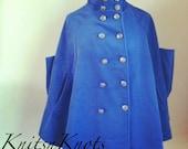 Blue Military Style Fleece Spun Cloak with Pockets