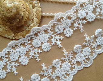 Off-White Lace Trim, Embroidery Lace, Floral Lace, Double Side, 3.9 inches wide 2 yards