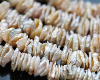 Natural Creamy Peach Center-drilled Keishi Freshwater Pearls, 10 mm, 16 inches, 180 beads (FP0201KS)