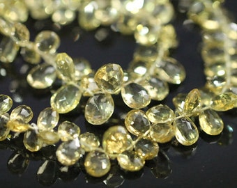 Beer Quartz Faceted Pear Briolettes, 8 - 10 mm, 8 inches GM0501FP/10 #176
