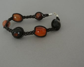Agate and Leather Bracelet