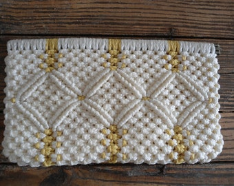 White and Yellow 70s Macrame Clutch