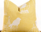 Bird Cage Pillow case, Yellow Cotton Pillow Cover, Modern Decorating Ideas, 18 x 18