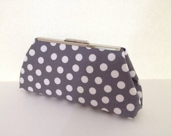 Grey and White Polka Dot Clutch Purse with Silver Finish Snap Close Frame, Bridesmaid, Wedding, Bridal, Special Occasion, Clutch Purse