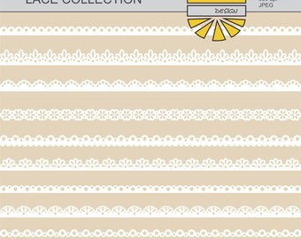 Lace Border Clip Art, Lace Borders Clipart Pack, Digital Clip Art, Instant Download - YDC084