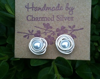 Silver Wrapped Swarovski Pearl Earrings Made to Order for Christmas