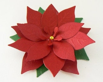 """8 Deep Red Shimmering Poinsettias with Greenary and Rhinestone 2.75"""" great for Scrapbooking, Embellishments, Garlands, Cupcake Toppers"""