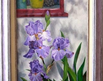 Orinda Irises - Lavender Irises by a Red Window - Oil Painting