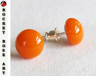 Stud Earrings Sterling Silver Bright Orange 9mm -10mm Fused Glass Cabochon Elegant Modern Minimalist Post Earrings