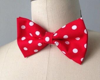 Pre-Tied Red Polka Dot bowtie, Bow tie, pre-tied, adjustable bowtie, Mens bowtie