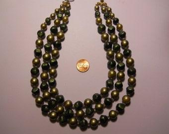 Vintage Three Strand Plastic Beaded Necklace