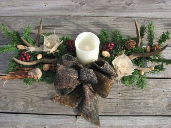 Camo Deer Antler Candle Centerpiece Wedding