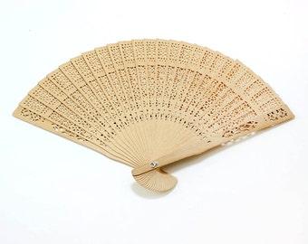 Foldable Sandalwood Frame Chinese Hand Fan [set of 2]  - ** FREE SHIPPING **
