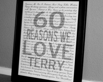 Reasons I Love You PRINTABLE Wall Art.  Mother's Day Gift. Personalized Birthday Anniversary Wedding Gift.  Customized DIGITAL file