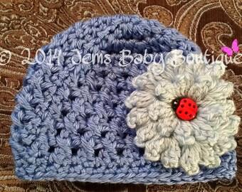 Preemie or Newborn cornflower blue Crochet Baby Girl Hat with blue flower,  Made to Order, Baby Girl  Hat with Flower,  Photo Prop Beanie