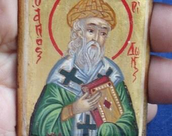 saint spiridon.miniature saint spyridon mini icon 5x6,5cm