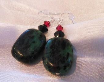 Ruby in Zoisite Drop Earrings