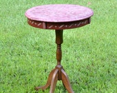 RESERVED Vintage Small Round Pedestal Table Painted Top Accent Table PanchosPorch