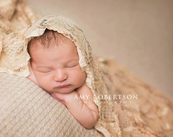 Newborn Photography WRAP Photography Prop Stretchy Lace Wrap Prop Newborn Photography Props for Newborn Photography Earth Tone Brown Natural