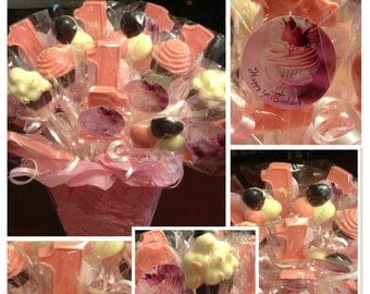 RESERVED plus container - 1st Birthday Chocolate Lollipops - First Birthday Chocolate Favors